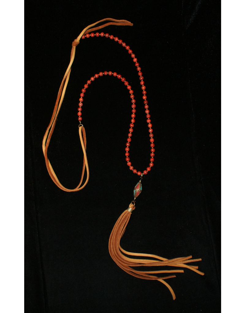 jewelry J Forks Tibetan Bead with Coral Necklace