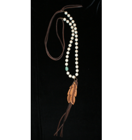 jewelry J Forks Fossil Coral with Double Leather Feather Necklace