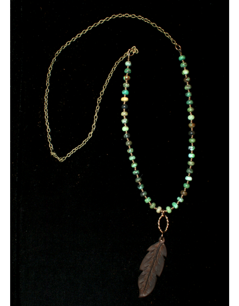 jewelry J Forks Turquoise with Chocolate Feather Necklace