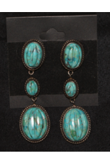 jewelry VIntage Carves Turquoise 3 Stone Dangle Earrings