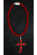 jewelry Sterling and Coral Cross Necklace
