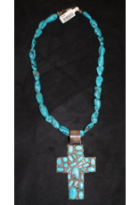 jewelry Stamped Sterling and Turquoise Cross Necklace