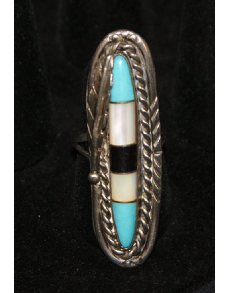 jewelry Mother of Pearl, Oynx, & Turquoise Ring