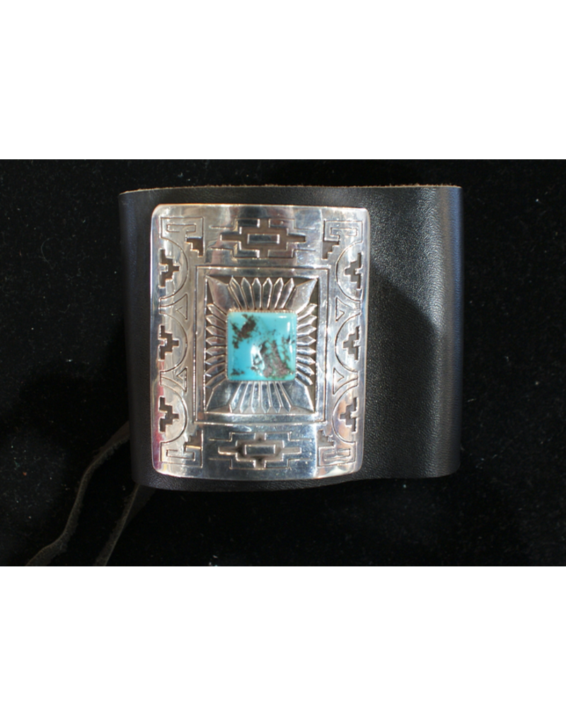 jewelry Kehovi Bow Guard Leather, Turquoise, and Silver Bracelet