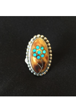 jewelry Turquoise Inlay Flower Ring