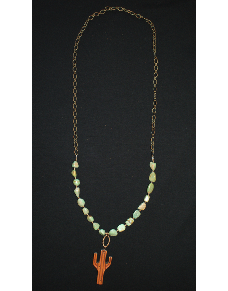 jewelry J. Forks Turquoise & Cactus Bronze Necklace
