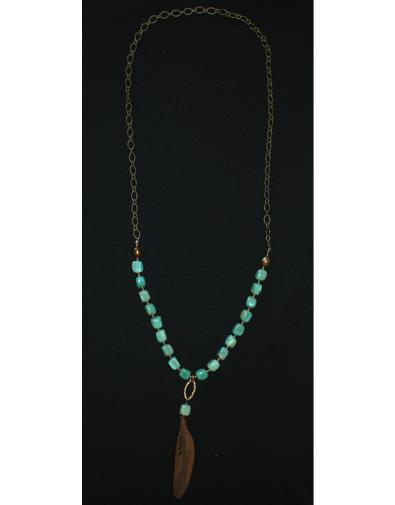 jewelry J. Forks Kingman Turquoise Necklace with Brown Buffalo Bone Feather