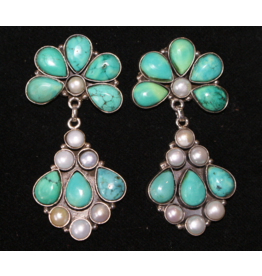jewelry Pearl & Turquoise Earrings by Rhed Lucy