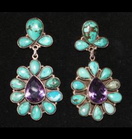 jewelry Turquoise & Amethyst Earrings
