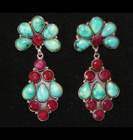 jewelry Ruby-Quartz & Turquoise Earrings