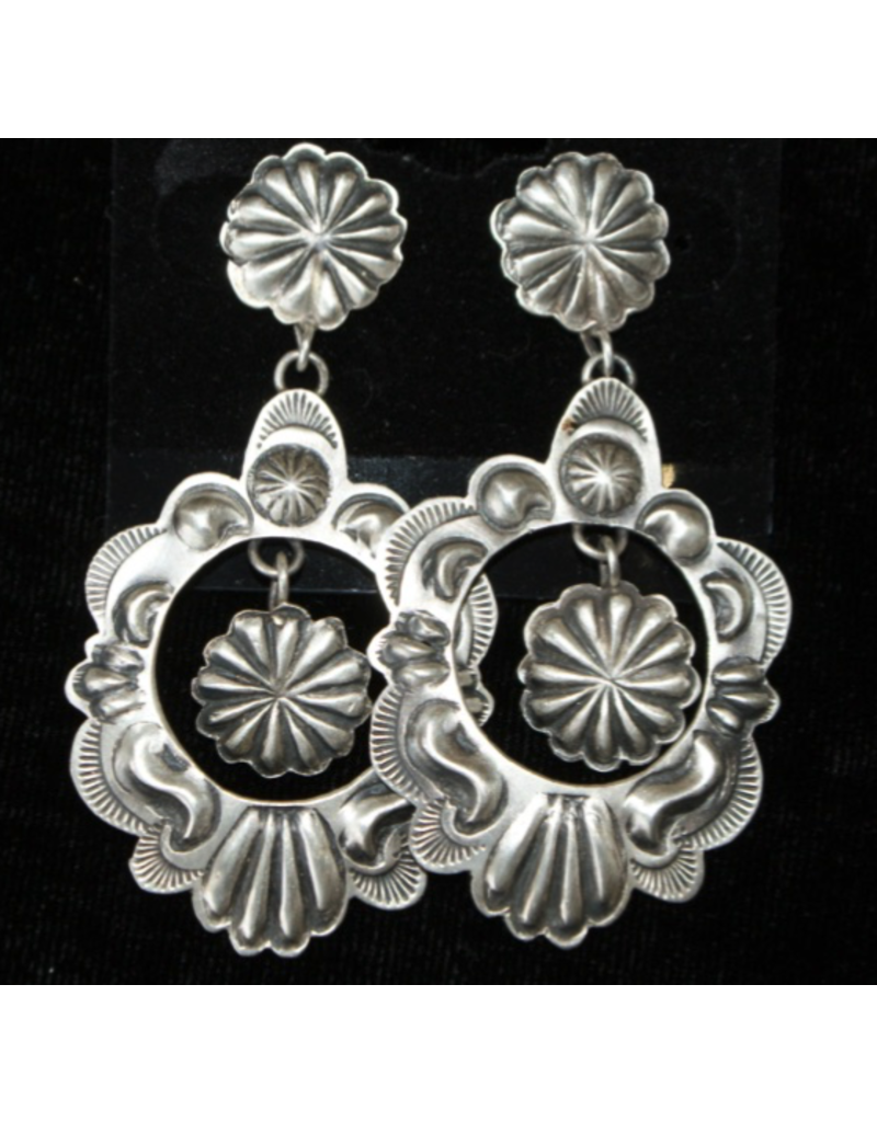 jewelry Vintage Sterling Repousse Earrings by Eugene Charley