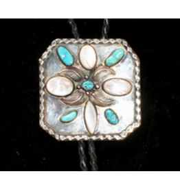 jewelry Sterling Silver Turquoise Mother of Pearl Bolo Tie