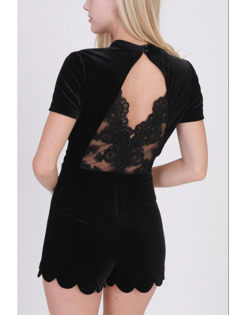 APPAREL Black Velvet Romper