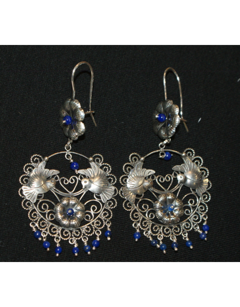jewelry Lapis Floral Earrings