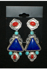 jewelry Vintage Lapis, Turquoise, & Coral earrings