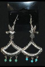 jewelry Abanico Dove with Turquoise Earrings