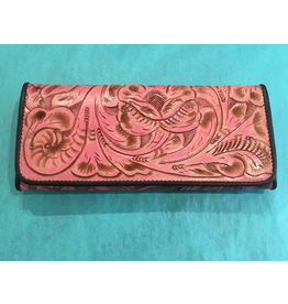 ACCESSORY Large tooled pink wallet w/ brown inside