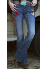 APPAREL Butterfly embroidered flare jeans
