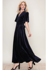 APPAREL Beautiful Navy Velvet Dress