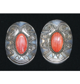 jewelry Vintage Spiny Oyster Sterling Concho Earrings