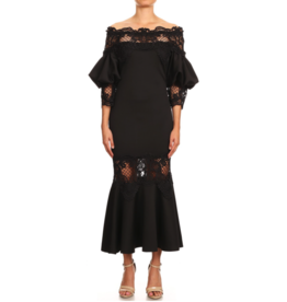 APPAREL Lourdes Black Lace Dress