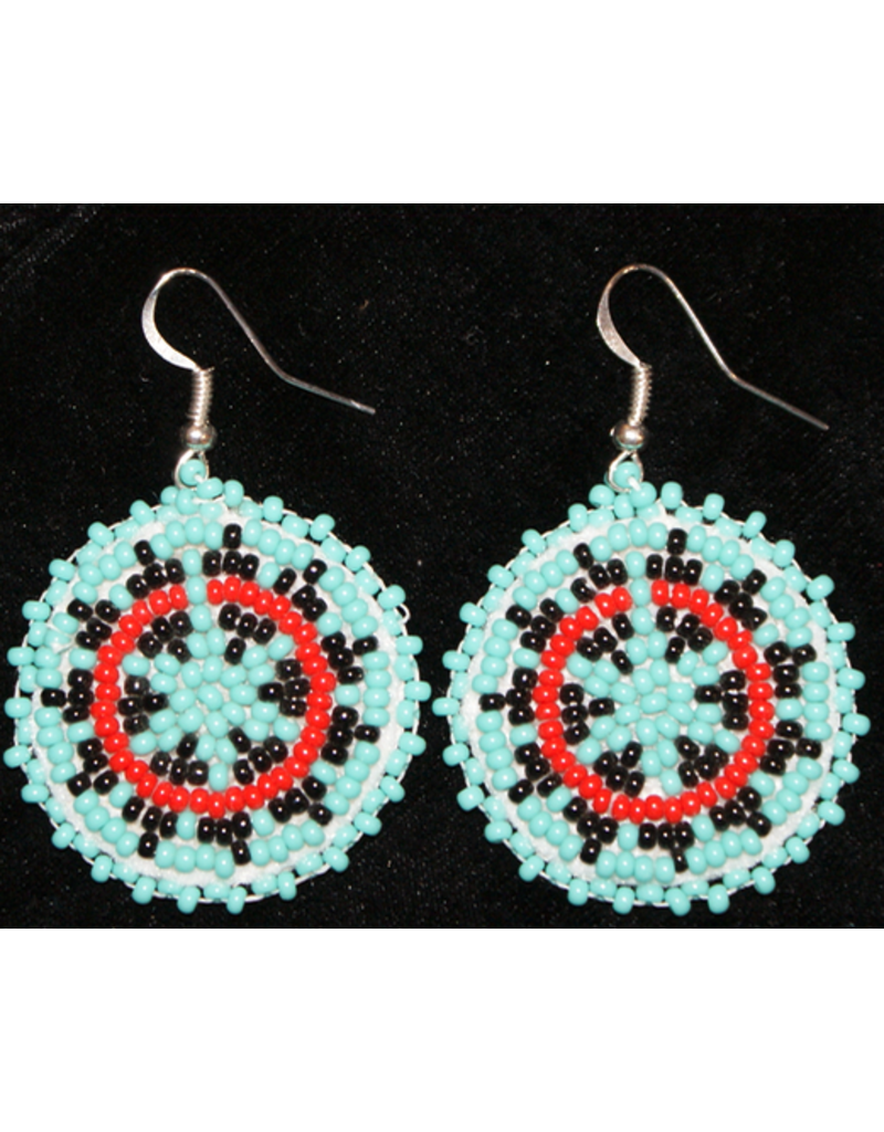 jewelry Hand Beaded Earrings with Coral and Opal