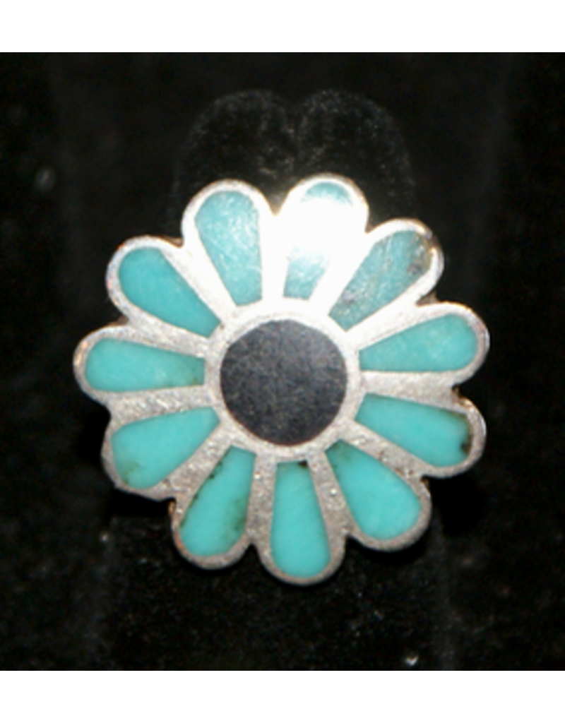 jewelry Flower Turquoise & Onyx RIng