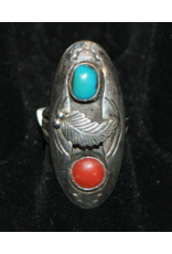 jewelry Vintage Coral & Turquoise Sterling RIng