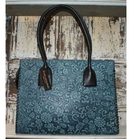 ACCESSORIES Blue Tooled Purse by Juan Antonio