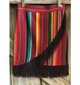 APPAREL SHORT FRINGE SERAPE WRAP SKIRT