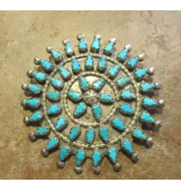 jewelry VINTAGE PETIT POINT TURQUOISE CLUSTER PIN