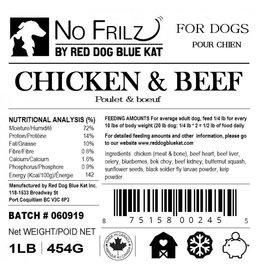 Red Dog Blue Kat Red Dog Blue Kat - No Frillz - Chicken & Beef - 1lb