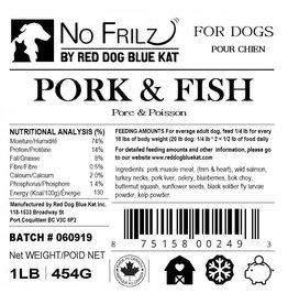 Red Dog Blue Kat Red Dog Blue Kat - No Frillz - Pork, Turkey & Fish - 1lb