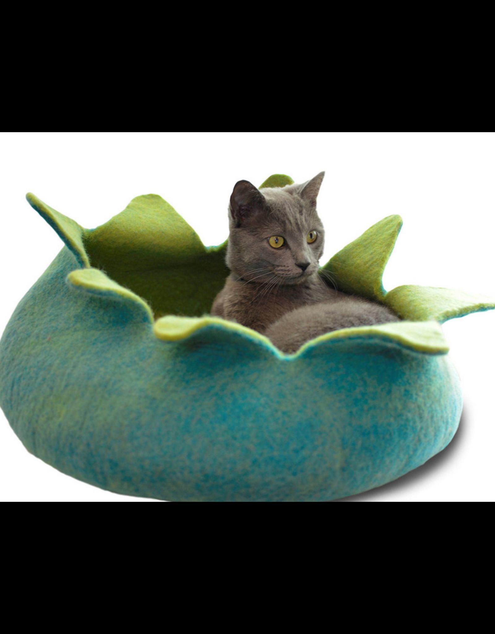 "dharma dog and Karma cat DDKC - Wool Felt Petal Basket - Aqua 14"""