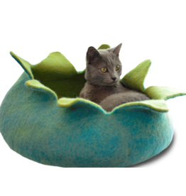dharma dog and Karma cat DDKC - Wool Felt Petal Basket - Aqua 14""