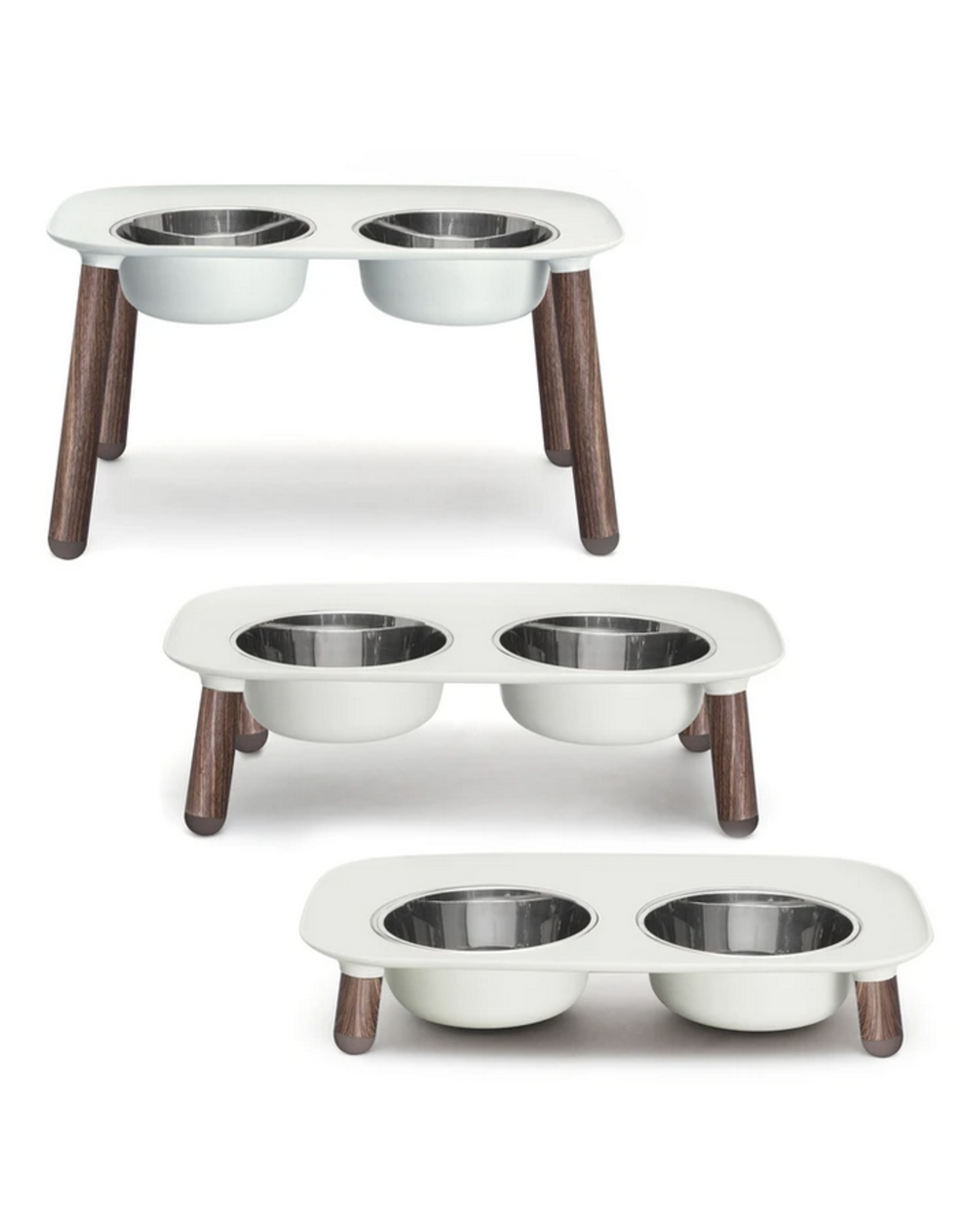"""Messy Mutts Messy Mutts- Raised Dbl Feeder w/ Stainless Bowl - 3""""-10"""" - Light Grey w/ Wood"""