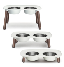 "Messy Mutts Messy Mutts- Raised Dbl Feeder w/ Stainless Bowl - 3""-10"" - Light Grey w/ Wood"