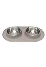 Messy Mutts Messy Mutts - Dbl Silicone Feeder with Stainless Bowl - XL - Grey