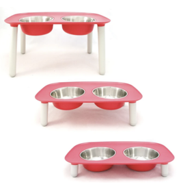 """Messy Mutts Messy Mutts- Raised Dbl Feeder w/ Stainless Bowl - 3""""-10"""" -"""