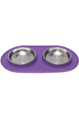 Messy Cats Messy Cats - Dbl Silicone Feeder with Stainless Bowl- 1.75 Cups - Purple
