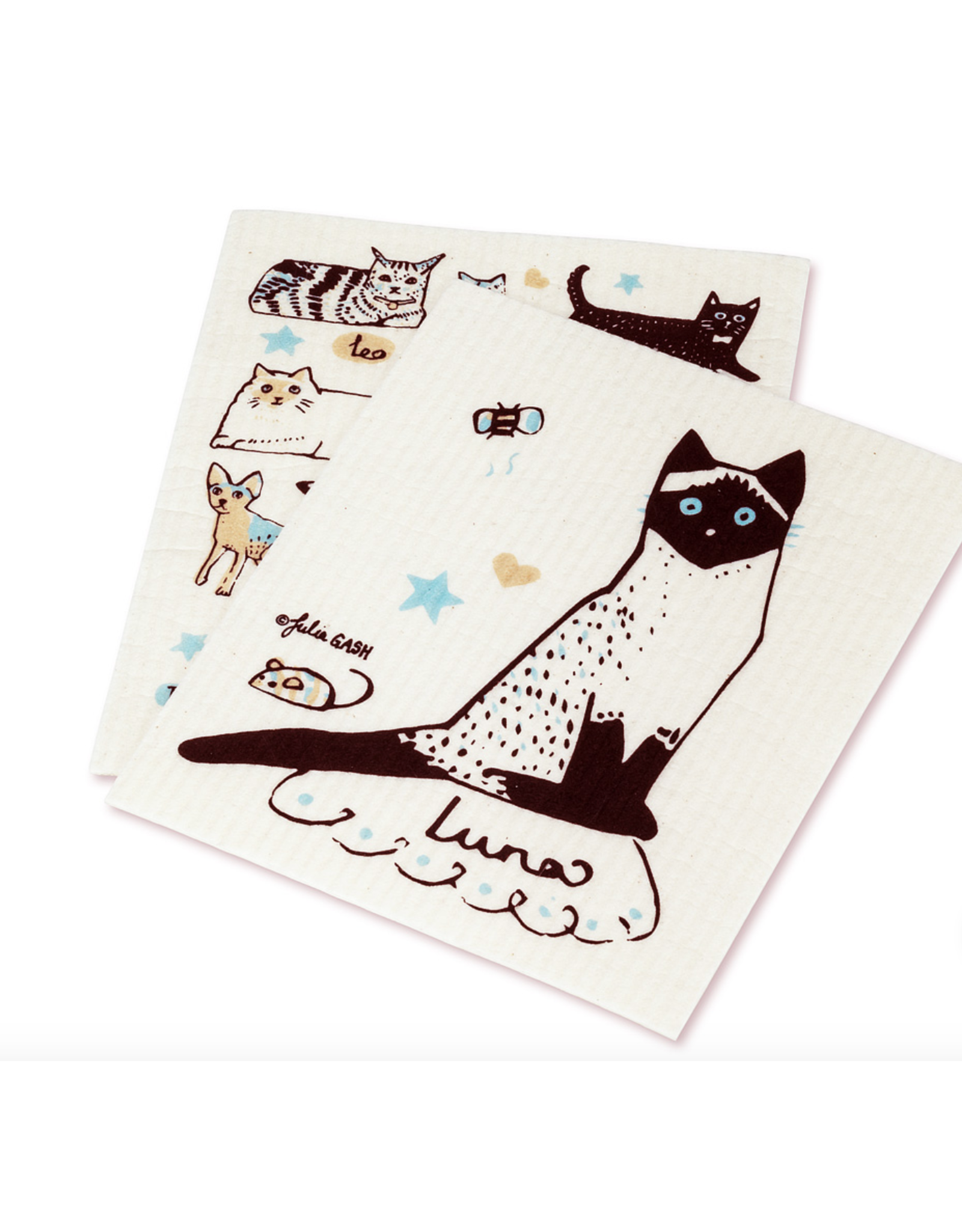 Cats and Names Dishcloth - (2pc)