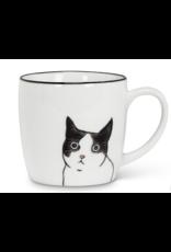 Peering Cat Mug - Blk/Wht - (10oz)