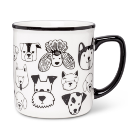 Simple Dog Faces Mug - Blk/Wht - (14oz)