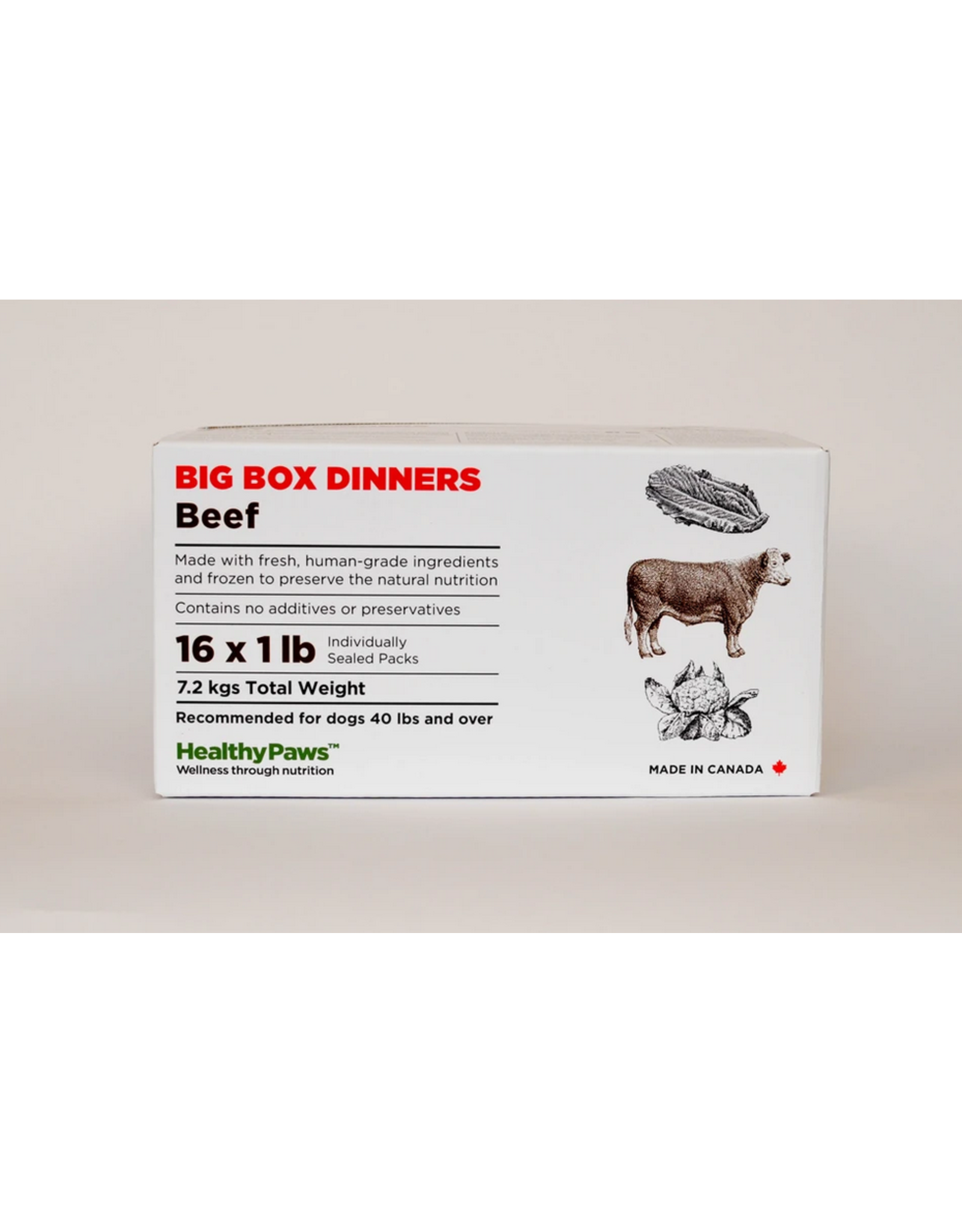 Healthy Paws Healthy Paws - Big Box -  Beef - 16Lb (16x1LB)