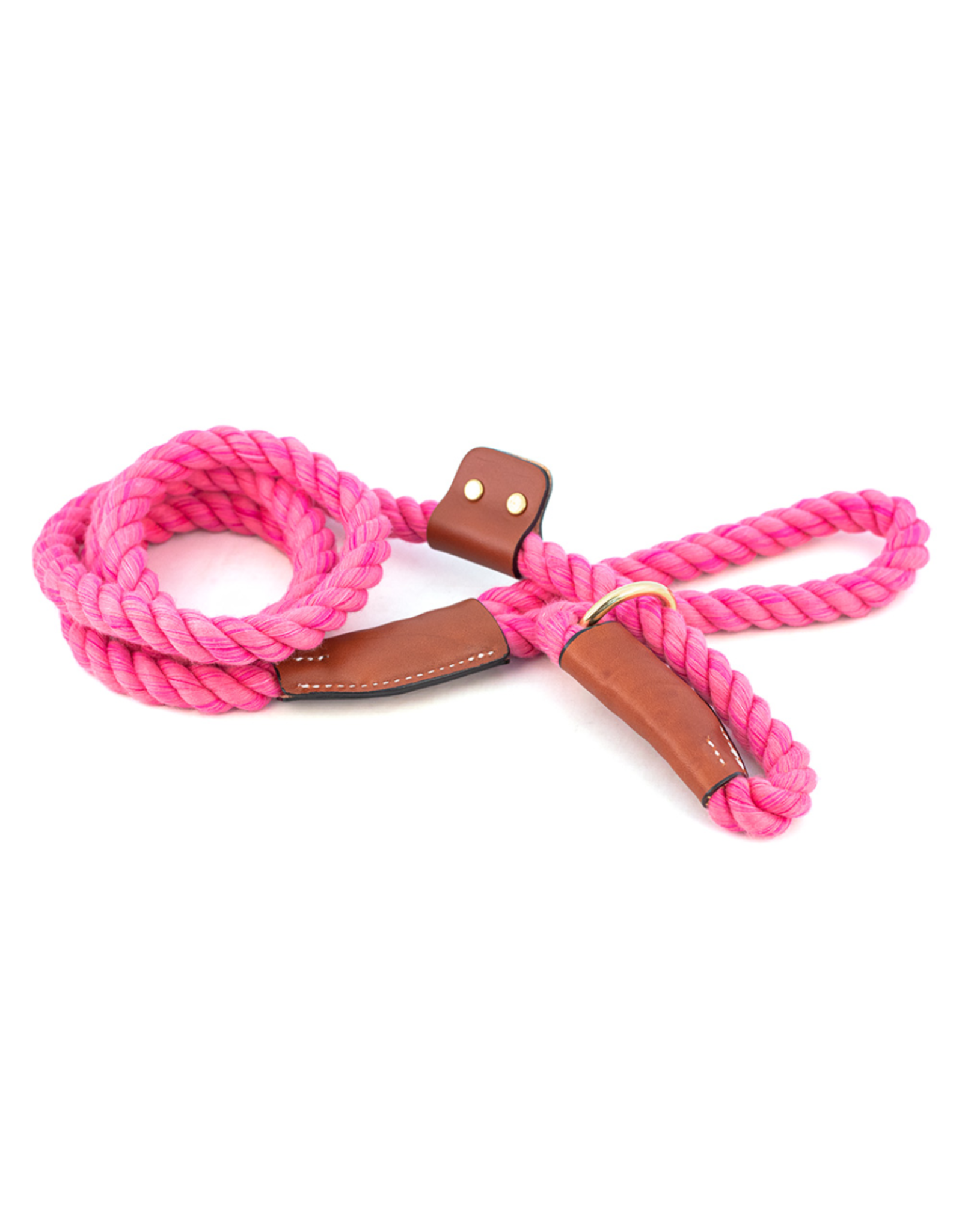 "Auburn Auburn - Natural Cotton/Leather Leash Slip (Pink) 1/2"""