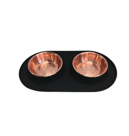 Messy Mutts Messy Mutts - Dbl Silicone Feeder w/ Copper Stainless Bowl- Black