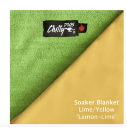 Chilly Dog Chilly Dogs - Reversible Soaker Blanket - Yellow/Lime Microterry Lining