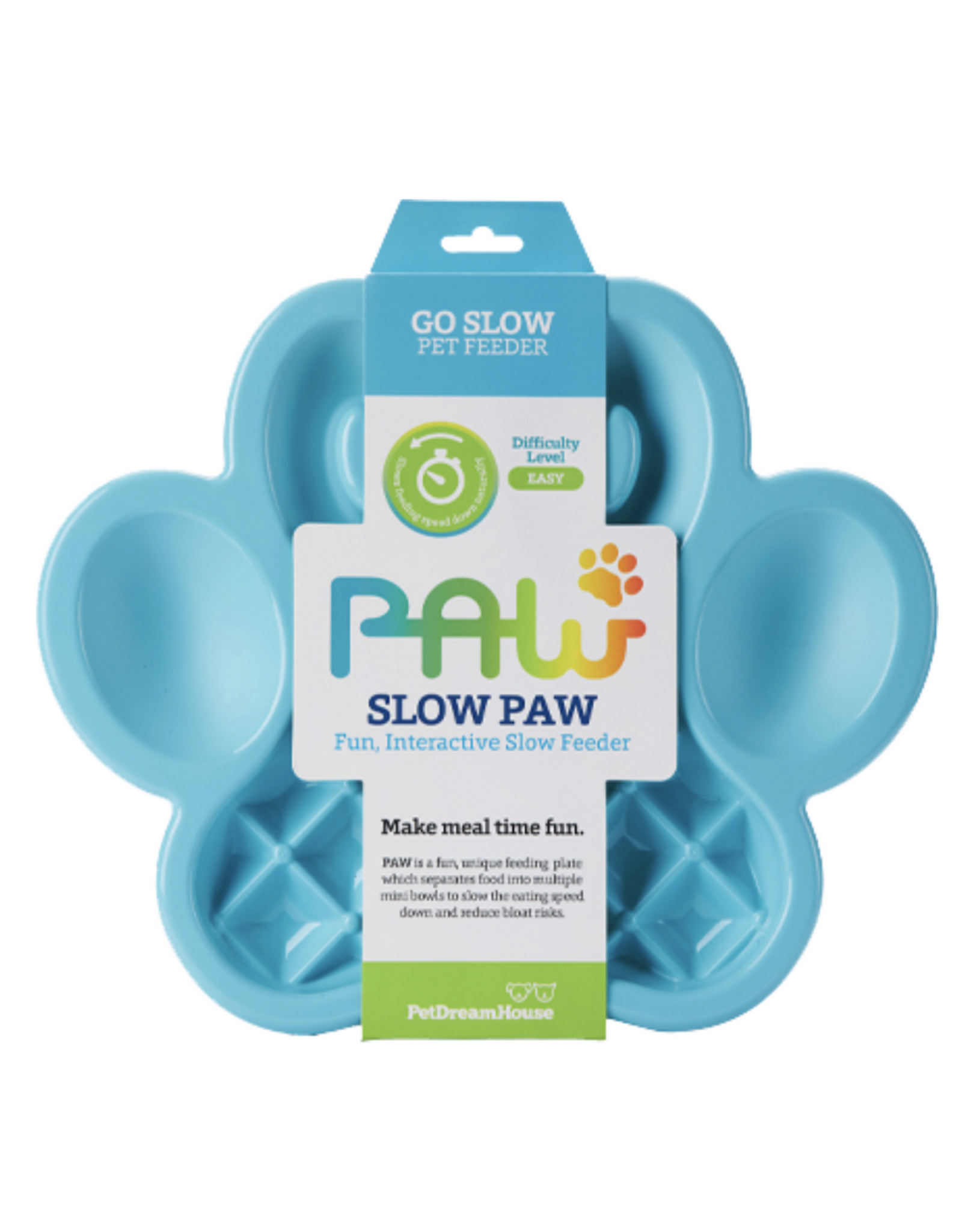 Pet Dream House Paw Slow Feeder - Blue