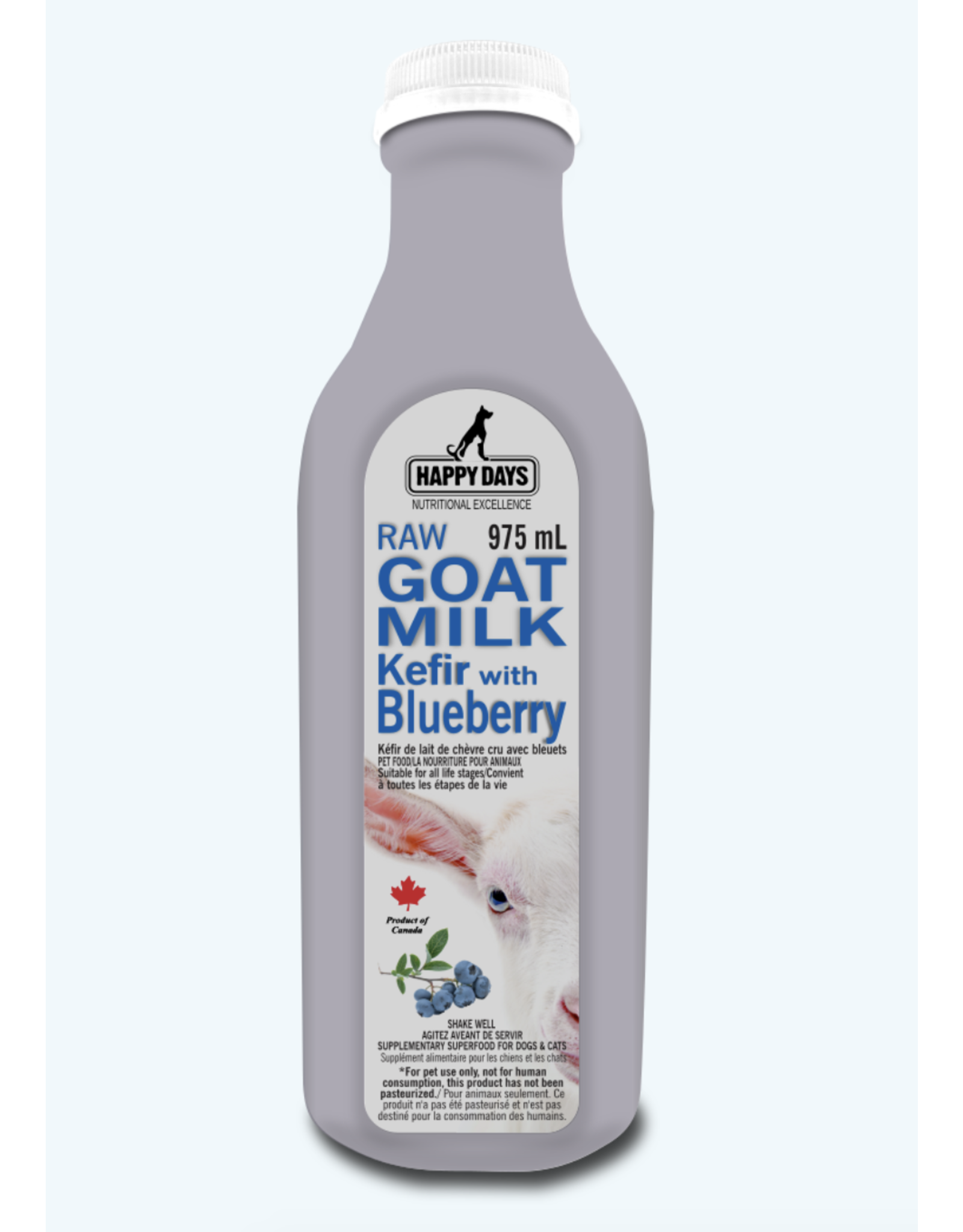 Happy Days Happy Days - Raw Goat Milk Kefir with Blueberries - 1L