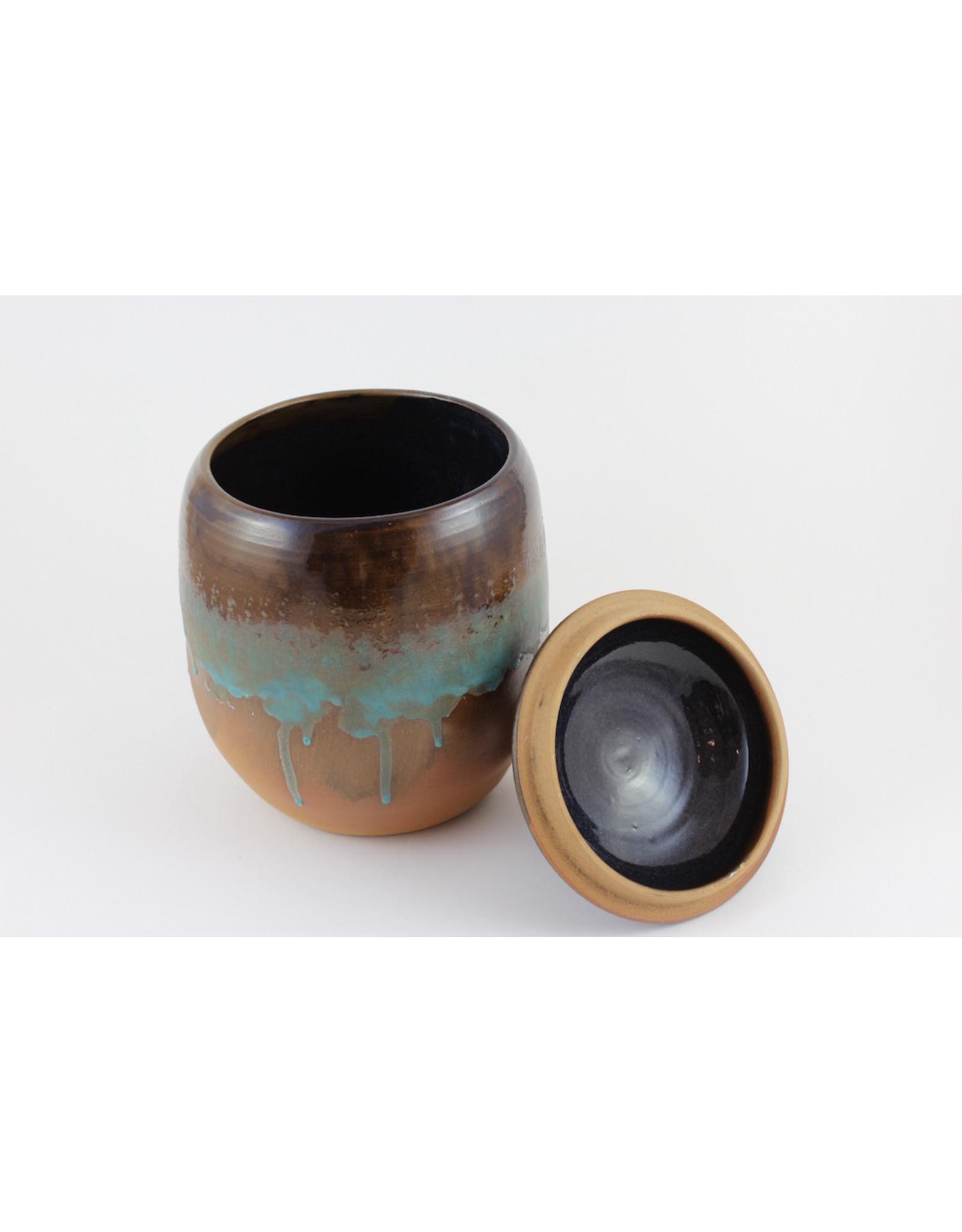 Jitka Zgola Brown Pot with Lid by Jitka Zgola